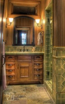 Gorgeous Aloe Green tiles add a touch of color to a Rustic Style Bathroom