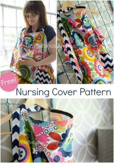 Free nursing cover pattern with a pocket. Simple and easy to sew! #sewing #nursing #cover