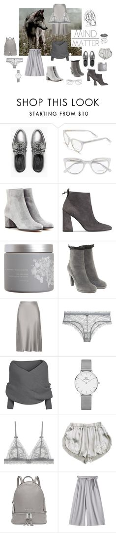 """""""Soft grey world"""" by ellasophialove ❤ liked on Polyvore featuring Max&Co., Børn, Jason Wu, Gianvito Rossi, Stuart Weitzman, red flower, Marc by Marc Jacobs, Protagonist, Daniel Wellington and Dauphin"""