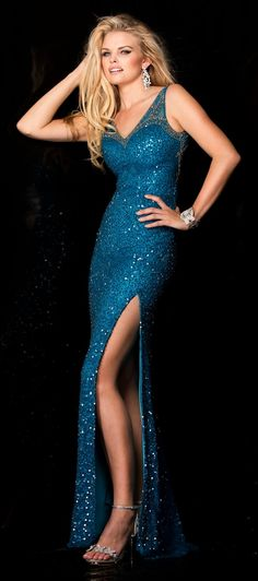 Evening Dresses Prom Dresses by SCALAasc48549Double V beaded lattice  neckline on sheer illusion sweetheart bodice with sexy side slit. 03ddb7362