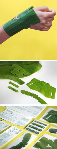 Banana leaf bandages that outperform synthetic materials yet are biodegradable and soothing, PLATANACEAE is a series of first aid bandages for burn wounds that happen at home. The hydrated texture of banana leaves is refreshing when in contact with the sk
