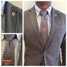 #zara grey blazer, #uniqlo blue Oxford shirt, #orange tiebar #tiebar polka dot grey tie