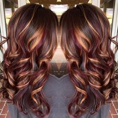Burgundy Hair Color with Blonde Highlights