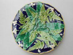 Antique Cobalt Blue Ground English Majolica Fern Plate