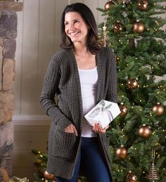Women's Relaxed Fireside Open-Front Cardigan Sweater | Soft and sustainably crafted of natural and recycled materials, this Fireside Open-Front Cardigan Sweater is a feel-good fashion choice.