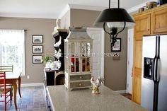 autumn in the kitchen, kitchen design, seasonal holiday décor Sherwin Williams Sticks and Stones