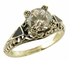 Art Deco Style Sterling Silver .85ct Cubic Zirconia and Enamel Ring Janeliunas Jewelry. $55.99