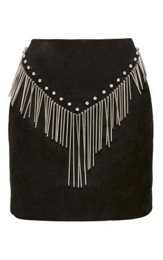 Suede Pencil Skirt With Fringe by Anthony Vaccarello for Preorder on Moda Operandi