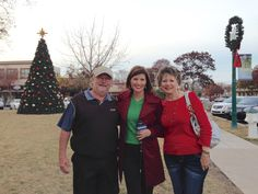 December 9th, 2014 - I did live weather in Georgetown on the Square wearing one of my favorite coats!  It is Anne Klein and I picked it up at TJ Maxx in Roseville, Minnesota several years ago.  Wanted to be spirited for the holidays, so I wore a bright green sweater underneath - from Polo-Ralph Lauren Outlet.