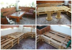 Lunch corner made from pallets #Bench, #Corner, #Outdoor, #Pallets, #Table, #Terrace