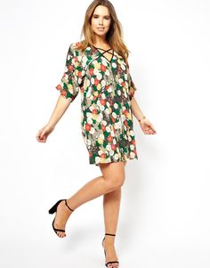 Cold Shoulder Dress In Floral Print, for Gwynnie Bee