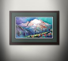 Mt Rainier From Sunrise Meadows Watercolor Painting PRINT. Mount Rainier Pacific Northwest Mountain Art. Washington State. PNW Watercolor Cat, Watercolor Landscape, Watercolor Paintings, Boat Painting, Painting Prints, Thing 1, Mountain Art, Cat Wall, Beach Print