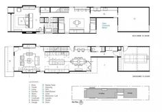 Planos de casa  larga y angosta de dos pisos                              …