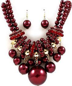 Burgundy Metallic Bead Ball Celebroty Necklace Set