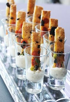 wedding food Shot Glass Appetizers: All-In-One Finger Foods For Your Next Party Recipe Roundup Shot Glass Appetizers, Finger Food Appetizers, Appetizer Recipes, Appetizer Ideas, Individual Appetizers, Mini Appetizers, Party Recipes, Breakfast Finger Foods, Canapes Ideas