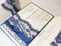 Lace Wrapped Wedding Reception Invitations. Very beautiful and classy - our colors though :)