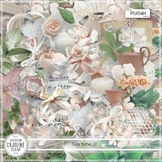 "Photo from album ""Tea Time"" on Yandex. Scrapbooking Freebies, Digital Scrapbooking, Digital Papers, Diy And Crafts, Paper Crafts, Wedding Templates, Scrapbook Embellishments, Kit, Printable Paper"