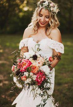 Romantic flower crown, off the shoulder boho wedding dress, bright bouquet // Nessa K Photography Winter Wedding Attire, Boho Wedding Dress, Floral Wedding, Wedding Gowns, Wedding Hair, Romantic Flowers, Bridal Flowers, Beautiful Bouquets, Engagement Dress For Bride