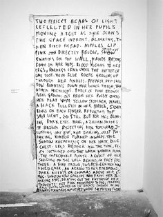 Fiona Baner / Performance Nude, Toronto, 2007 Indian ink on wall Fiona Banner, Wall Writing, Arts And Crafts Movement, Design Reference, Installation Art, Word Art, Sculpture Art, Hand Lettering, Typography