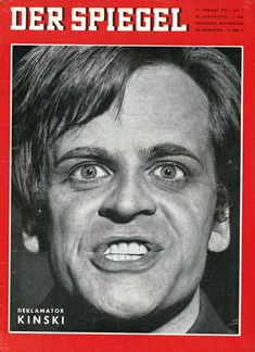 1961 - Der Spiegel with Klaus Kinski Creative Poster Design, Creative Posters, Nagel Art, Star Wars, Spiegel Online, Berlin Wall, Crazy People, Cinematography, Funny Pictures