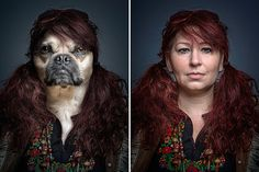 Dogs dressed as their owners - in pictures Do dogs really look like their owners? They do in this project by Swiss photographer Sebastian Magnani – he has spliced together portraits of the owners with their four-legged friends in a series called Underdogs Photo Portrait, Montage Photo, Foto Art, Cat Photography, Dog Dresses, Photo Projects, Creative Photos, Look Alike, Photo Manipulation