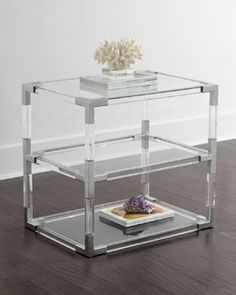 H7V2G Jonathan Adler Jacques Lucite & Nickel Two-Tier Table