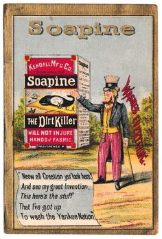 Soapine Soap Advertising Trade Card: UNCLE SAM Gold border Yankee Nation Chromo #Soapine