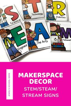 This MakerSpace Decor set comes with fun posters that can be used to make a STEM/STEAM/STREAM sign for your bulletin boards. This resource includes four sets of letters that spell: STEM, STEAM, and STREAM (2 versions with R as Robotics and Religion). No two posters are the same! You can even mix and match! These posters will be great for your classroom MakerSpace, STEM/STEAM/STREAM lab, and school libraries. Click to learn more. #makerspace