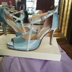 Something blue... something new.... Romantic Divina satin bridal with glitter Something Blue, Stuart Weitzman, Satin, Glitter, Romantic, Bridal, Sandals, Heels, Fashion