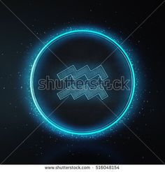 Astrology Zodiac Signs or symbol. Call Aquarius. Metallic silver and light on black background. Glowing and shining blue neon style. 3D Rendering.