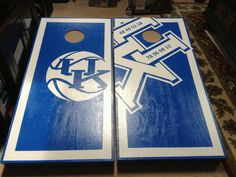 University of Kentucky corn hole boards. Showing all the NCAA basketball championships. Check www.facebook.com/fishscustoms for more and custom order information