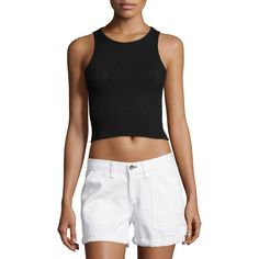 rag & bone/JEAN Highland Ribbed Knit Crop Top ($120) ❤ liked on Polyvore featuring tops, black, form fitting tops, sleeveless crop top, sleeveless pullover, racerback crop top and racer back crop top