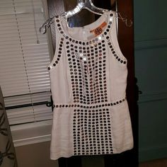 NWT AUTHENTIC TORY BURCH MIRROR BEADED BLOUSE NEW SIZE 6 TORY BURCH MIRROR BEADED AMAZING BLOUSE..STYLE NUMBER 33071158 Tory Burch Tops Blouses