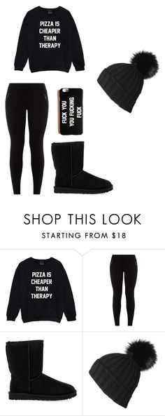 """Random lazy day outfit (black)"" by wifesauce ❤ liked on Polyvore featuring beauty, New Look, UGG Australia and Black"