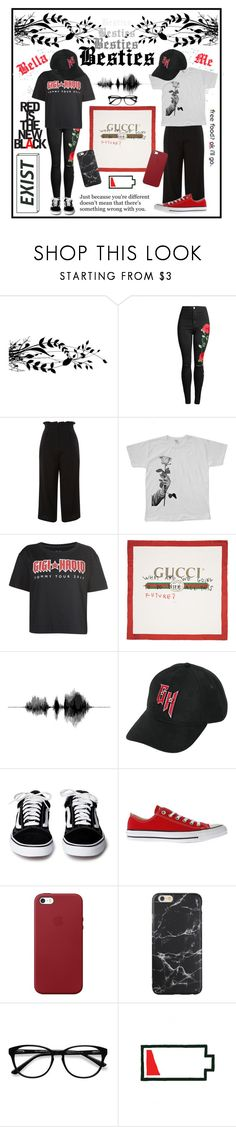 """""""🥀"""" by lunella ❤ liked on Polyvore featuring Topshop, We Are Still Bold and Beautiful, Tommy Hilfiger, Gucci, Converse, Apple, EyeBuyDirect.com and setsbylunella"""