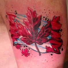 Canadian Flag And Leaf Tattoo Design Family Tattoos, New Tattoos, Tatoos, Flag Tattoos, Jack Tattoo, Tattoo You, Canadian Flag Tattoo, Maple Leaf Tattoos, Triathlon Tattoo
