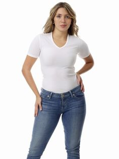 Underworks Women's Microfiber Compression V-Neck T-shirt, Medium, White Sizes: Small 32-34 / Medium 36-38 / Large 40-42 / X-large 44-46 / 2X 48-50 / 3X 52-59. Comfortable all day for sporting or leisure. Invisible under clothing, Microfiber Smooth. Underworks Quality - Made in USA. Wear as a base layer or as a top.  #Underworks #Apparel