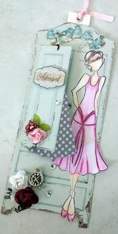 Scrap Space of Lele: [Card Tuesday]: Wardrobe Ruby Tag Prima Paper Dolls, Prima Doll Stamps, Hand Made Greeting Cards, Making Greeting Cards, Decoupage Vintage, Card Tags, Gift Tags, Crochet Gloves Pattern, Diy And Crafts