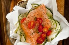 Salmon, courgette and plum tomato parcels