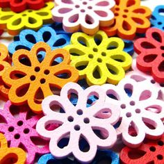 100pcs New Color Mixed Colored Hollow Flower Wooden Buttons 4- Holes Handmade DIY Decoration Sewing Accessories #>=#>=#>=#>=#> Click on the pin to check out discount price, color, size, shipping, etc. Save and like it!