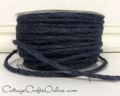 """Navy Blue burlap jute cord, approximately 1/8"""" diameter, 50 yard roll by May Arts Ribbon. Good for all kinds of crafts, decor and packaging. From the Cottage Crafts Online shop on Etsy, where we help your ideas become creations."""