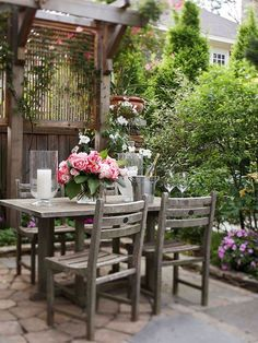 Holz Pergola Steinfliesen Garten Gestaltung Ideen