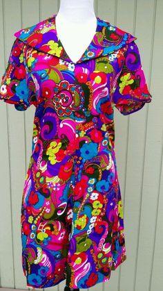 Vintage 50s 60's Mod Barkcloth Paisley Floral Psychedelic Print Gogo Mini Dress  #Handmade
