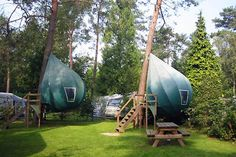 """Tree tents! They are """"composed of a steel frame wrapped in canvas and measure 13-feet-tall with a nine-foot diameter."""""""