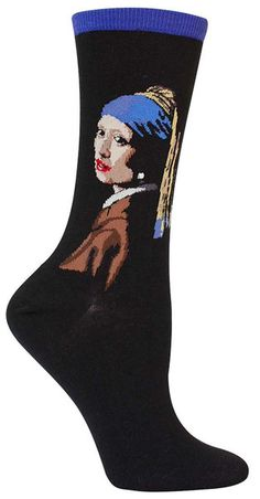 Vermeer's Girl With a Pearl Earring depicts a girl wearing an oriental headdress and an exotic dress, and a very large pearl earring.  The intimacy in her gaze prompted several theories that the model for the painting was romantically involved with Vermeer.    Crew length socks featuring Girl With a Pearl Earring {with an actual pearl bead!} by Johannes Vermeer. Available in red or blue.  Fits women's shoe size 5-10.