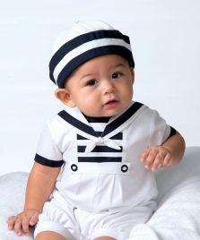 Sarah Louise Style 9832 Cotton Blend Sailor Romper & Hat