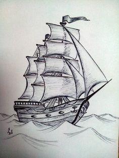 Trendy Boats Tattoo Drawing - Dibujos a lápiz - Drawing . Boat Drawing, Pencil Sketch Drawing, Ship Drawing, Pencil Art Drawings, Painting & Drawing, Drawing Drawing, Pencil Shading, Cool Art Drawings, Art Drawings Sketches