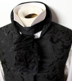 Regency Historic Victorian BLACK JABOT  Scalloped by elegantascot, $29.00