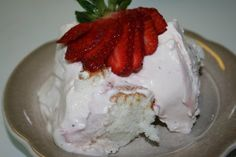 Strawberry Angel Cake - A easy layered dessert, made with cake, pound cake or angel food cake and a filling made with strawberries, whipped cream, cream cheese and condensed milk.