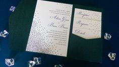 Silver glitter wedding invitations by Something Printed {www.something-printed.com}